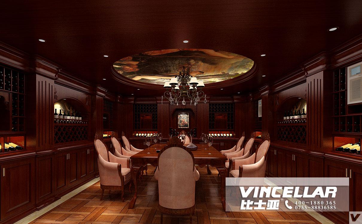 红橡木家具图片_古典,优雅的新中式风格酒窖效果图-比士亚[VINCELLAR]